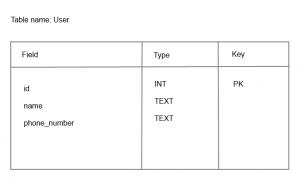 SQLite database user table