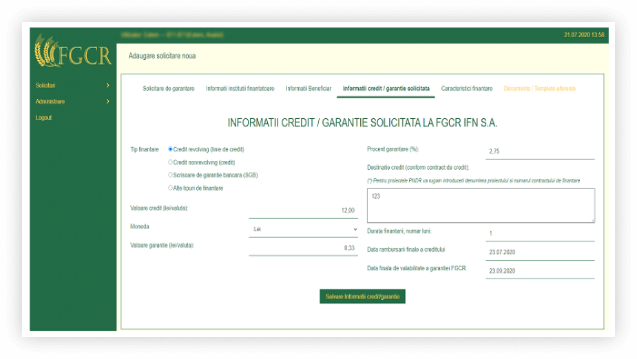 software garantii financiare